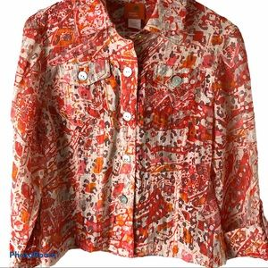 Hearts of Palm Top Orange & Pink Button Up